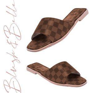 BELLAMY Brown Checker Vegan Leather Slide Sandals